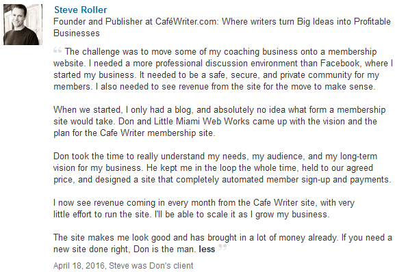 Recommendation by Steve Roller for Cafewriter.com website project.
